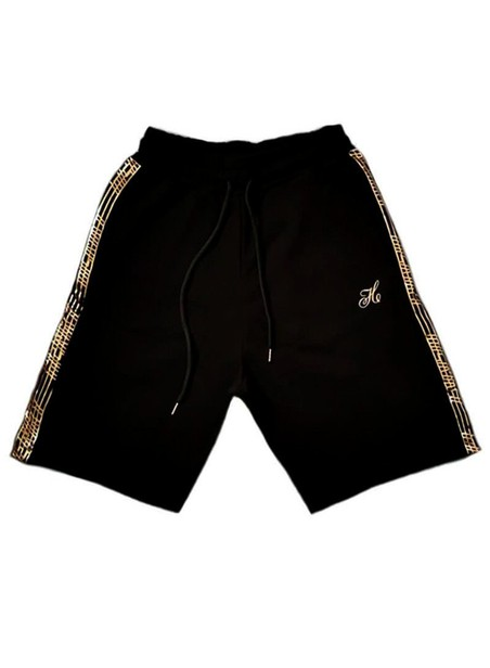 HENRY CLOTHING BLACK GOLD SIDE LINE SHORTS