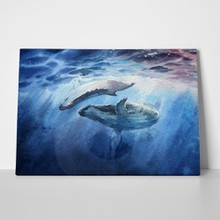 Hand drawn watercolor picture blue whales 610083428 a