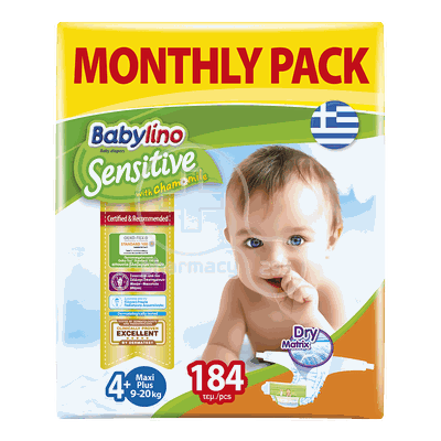 BABYLINO - MONTHLY PACK Babylino Sensitive Maxi Plus No4+ (9-20 Kg) - 184 πάνες