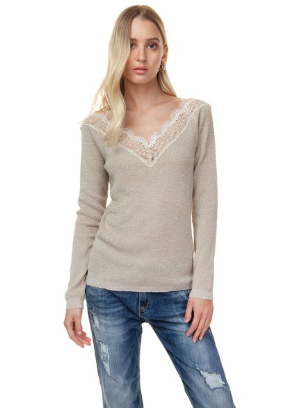 Knit top with lace