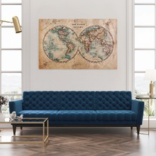 Old stained world map 1800