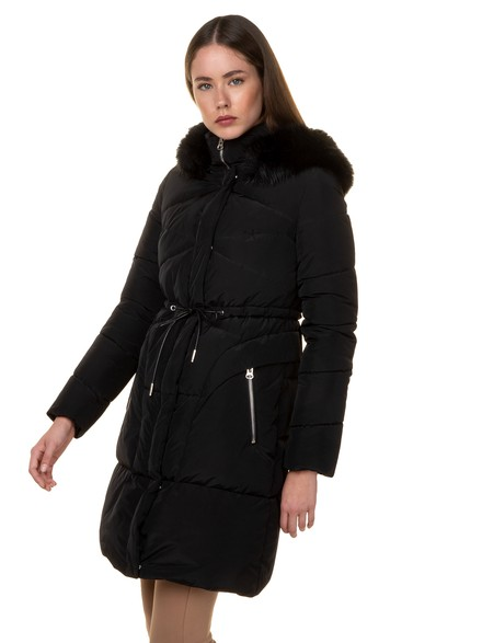 Puffer coat with removable hood