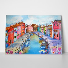 Watercolor island canal a