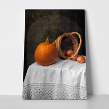 Pumkin and onions still life 96547768 a