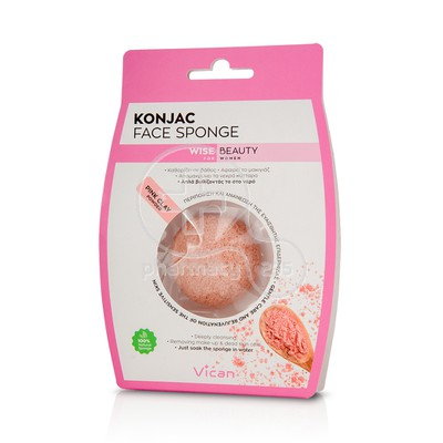 VICAN - KONJAC Face Sponge with Pink Clay Powder - 1τεμ.