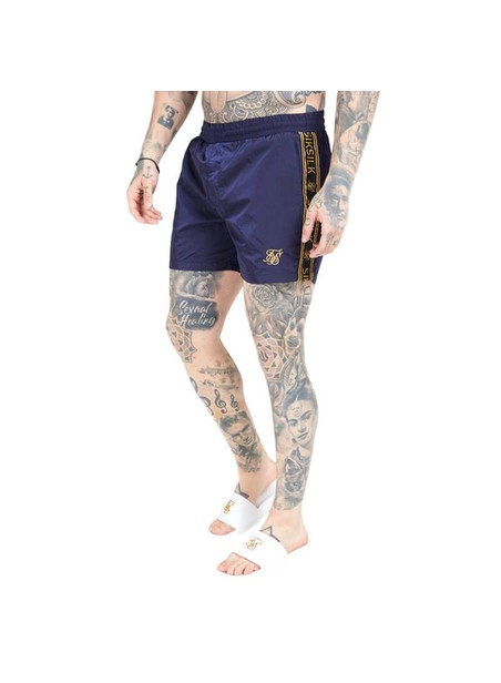 SikSilk Crushed Nylon Tape Swim Shorts – Navy & Gold