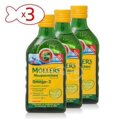 MOLLER'S- Τρία (3) Τεμάχια Cod Liver Oil Natural Flavour - 3Χ250ml