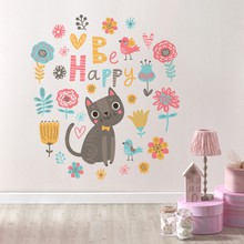 Floral background with cat and birds web