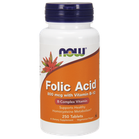 NOW FOLIC ACID 800 MCG  WITH VITAMIN B12, 250 TABS