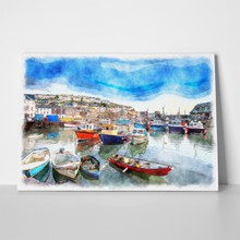 Watercolour harbour england cornwall 306667841 a