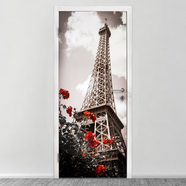 Eiffel tower and red rose