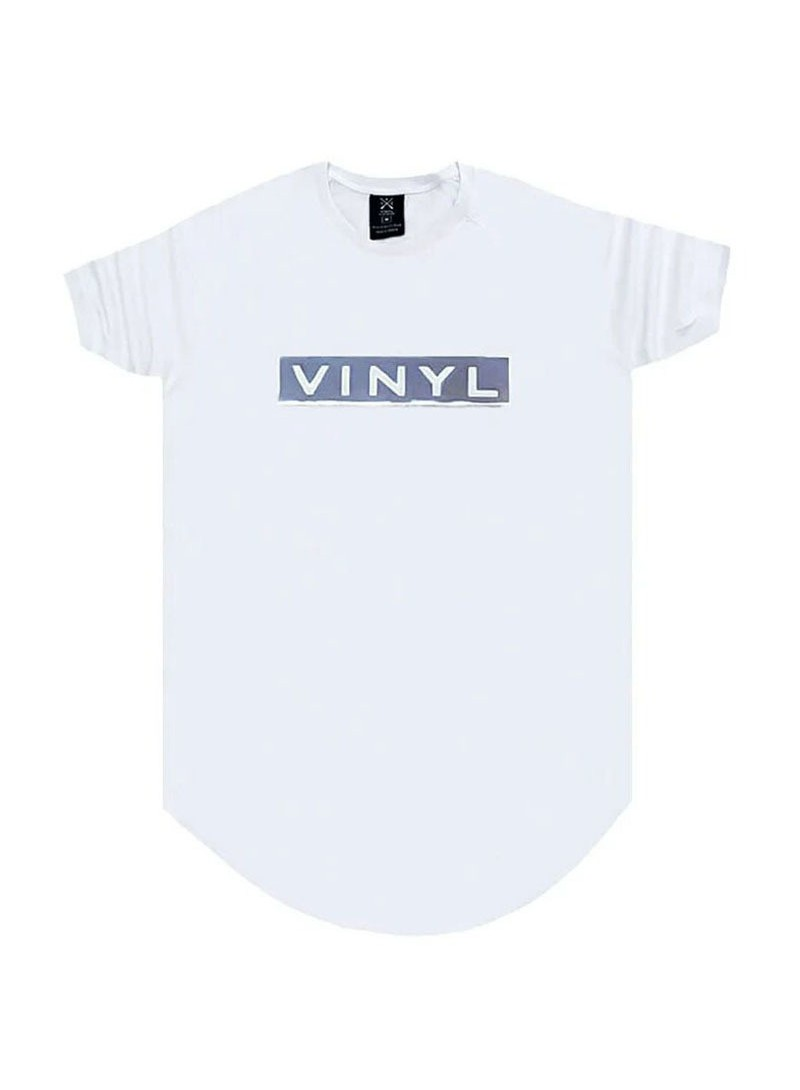 VINYL ART CLOTHING WHITE T-SHIRT WITH CHEST LOGO