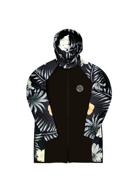 VINYL ART CLOTHING BLACK JACKET WITH TROPICAL FLOWERS
