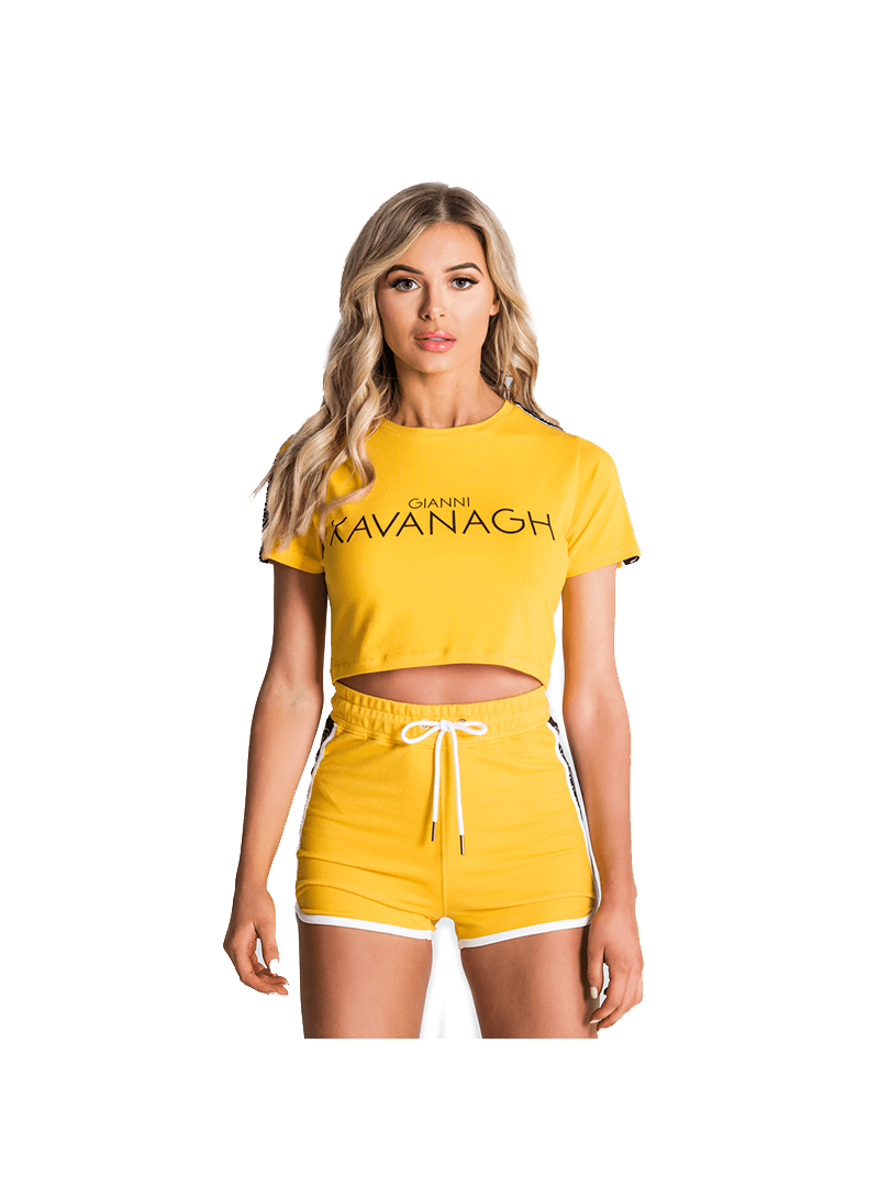 Gianni Kavanagh Yellow Crop Tee With Gk Ribbon