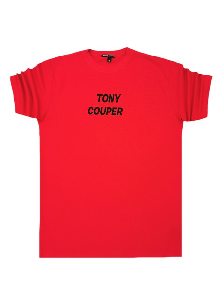 TONY COUPER RED T-SHIRT WITH BLACK LOGO