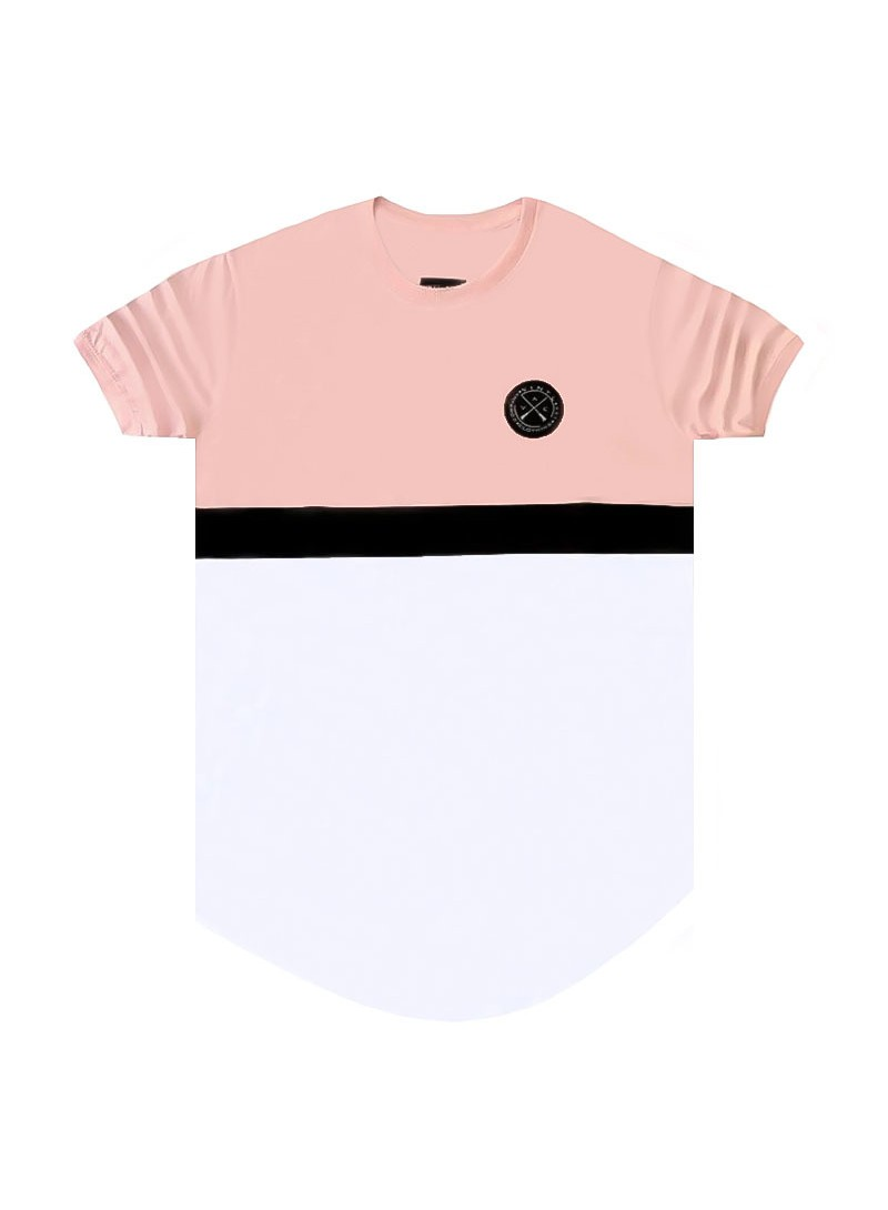 VINYL ART CLOTHING PINK COLOR BLOCKED T-SHIRT