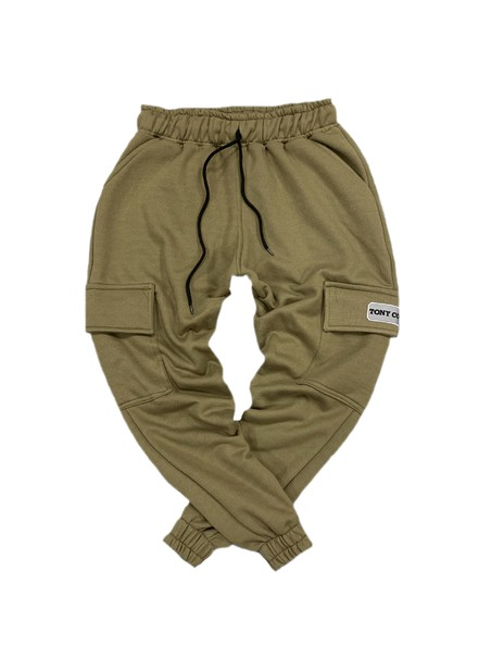 TONY COUPER KHAKI POCKET TRACKPANTS WITH NEON PATCH
