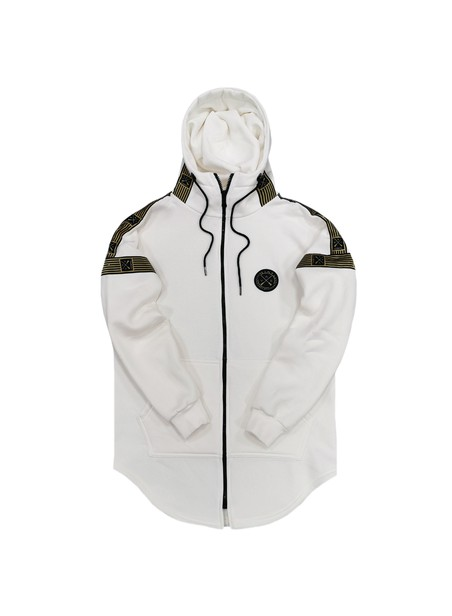 VINYL ART CLOTHING WHITE FULL-ZIP HOODIE WITH STRIPED LOGO TAPE
