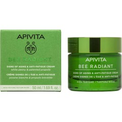 Apivita Bee Radiant Signs of Aging & Anti-Fatigue Cream Rich Texture White Peony & Patented Propolis - Αντιγηραντική Κρέμα Προσώπου Πλούσιας Υφής Για Λαμπερή, Σφριγηλή & Ξεκούραστη Επιδερμίδα, 50ml