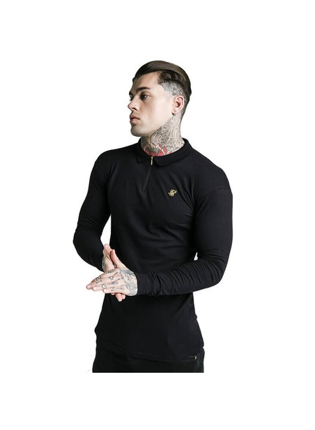 SikSilk L/S Zip Collar Polo Shirt - Black