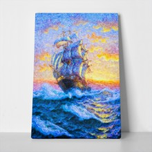 Beautiful big ship stormy waves impressionism 751548004 a