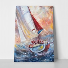Three sailmen on a sailing boat