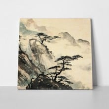 Chinese mountains landscape painting black 74680342 a