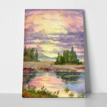 Watercolor landscape glow sunset over calm lake 68568580 a