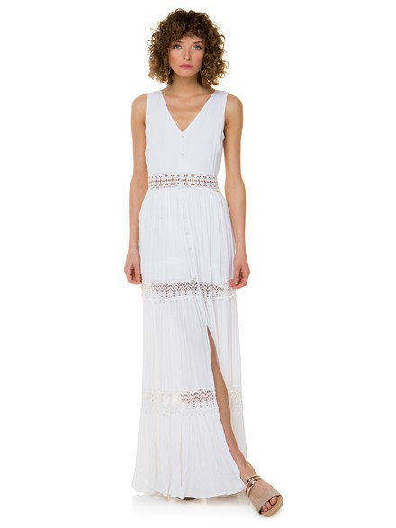 Maxi dress with broderie details