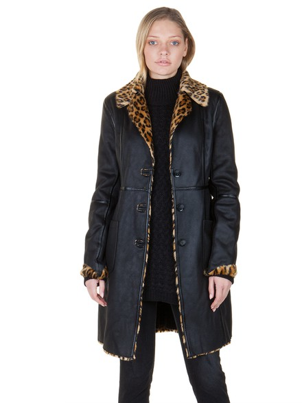 Double face coat with faux suede and fur