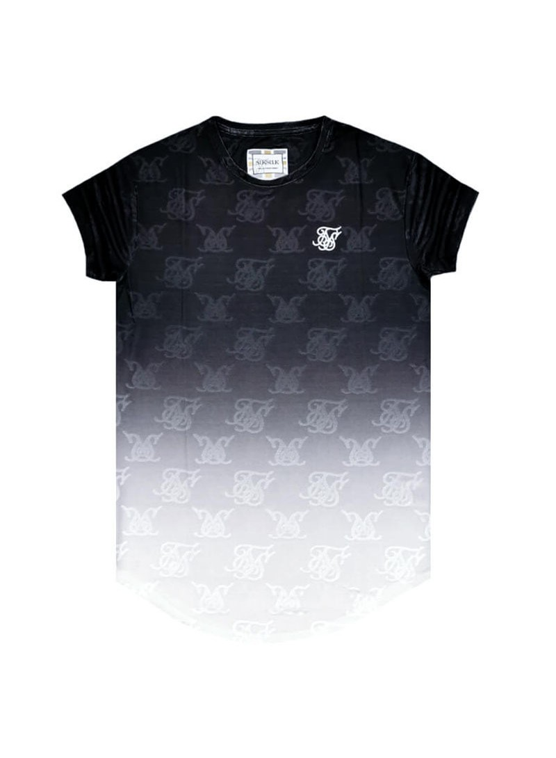 SikSilk Monogram Fade Gym Tee – Black &  White