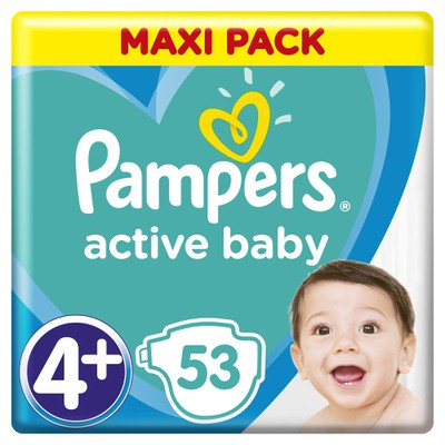 Pampers - Active Baby Dry Maxi Pack No 4+ (10-15Kg) - 53Τμχ