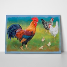 Digital rooster with chickens 497348299 a