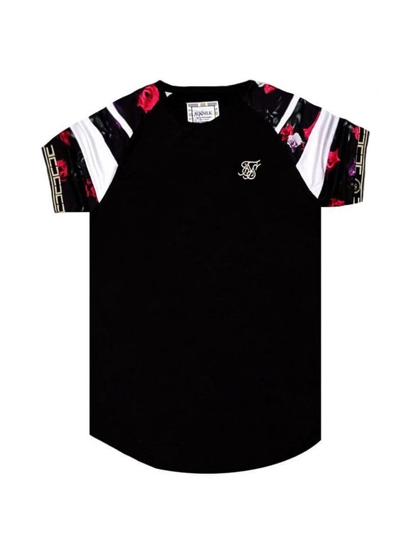 SikSilk S/S Raglan Sprint Tape Tee - Black & Oil Paint