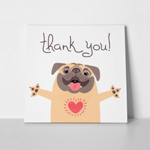 Cute dog says thank you pug 668703424 a