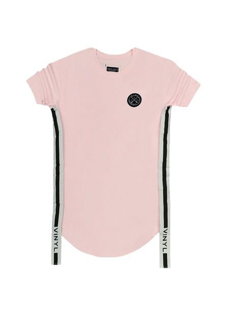 VINYL ART CLOTHING PINK SIDED STRIPE T-SHIRT