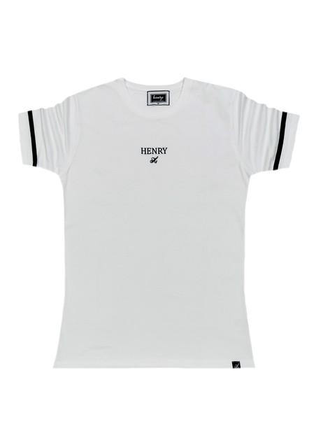HENRY CLOTHING WHITE T-SHIRT WITH BLACK STRIPE SLEEVES