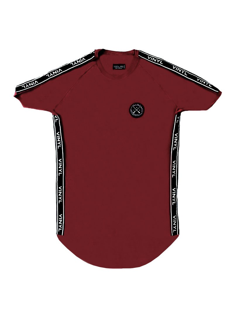 VINYL ART CLOTHING PERIMETRIC TAPED BORDEAUX T-SHIRT