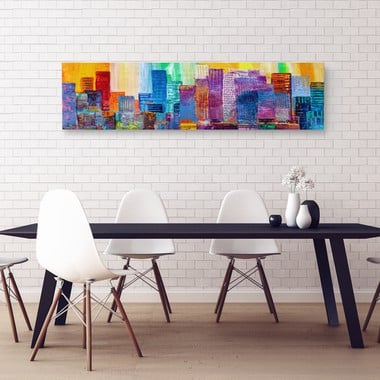 Abstract painting of urban skyscrapers