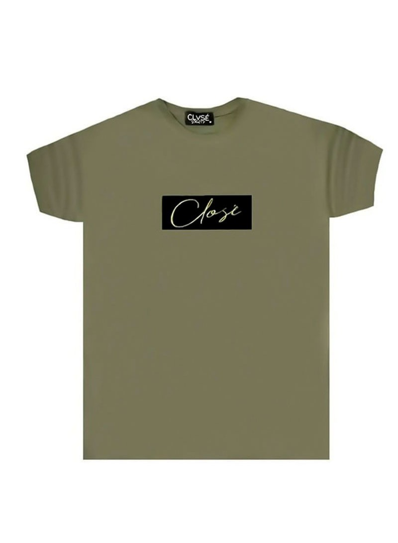 CLVSE SOCIETY KHAKI T-SHIRT 501 WITH PRINTED LOGO