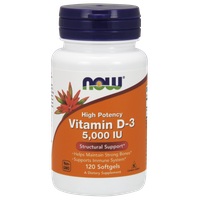 NOW VITAMIN D-3 HIGH POTENCY 5.000 IU, 120 SOFTGELS