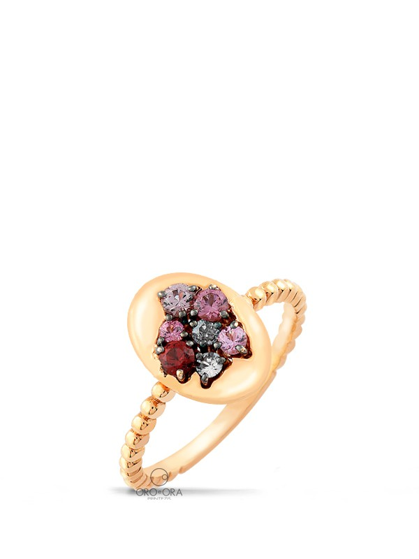 Ring Rose Gold K18 with Semi-precious Stones