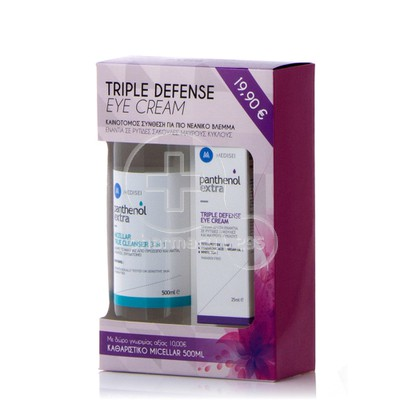 PANTHENOL - PROMO PACK PANTHENOL EXTRA Triple Defence Eye Cream (25ml) ΜΕ ΔΩΡΟ Micellar True Cleanser 3in1 (500ml)