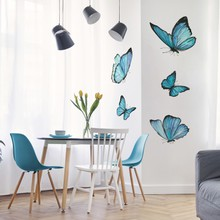 Set of blue watercolor butterfly