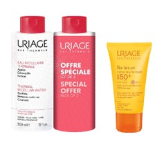Uriage Πακέτο Bariesun Creme Teintee Doree SPF50+ - Αντιηλιακό Προσώπου Με Χρώμα, 50ml + Uriage Thermal Micellar Water Sensitive Skin, 2x500ml