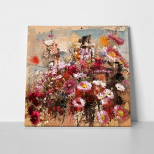 Autumn flowers mixed media