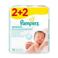 PAMPERS - Μωρομάντηλα Sensitive Maximum Care - 4x56 (224τμχ)
