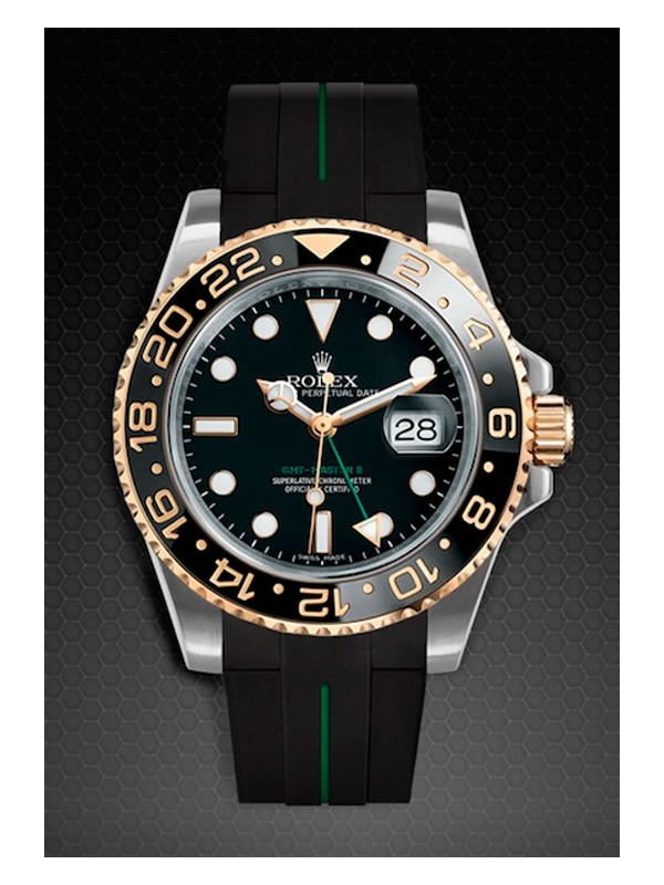 Rubber B For Rolex GMT Master II Steel-Gold