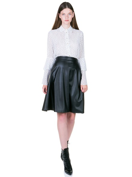 Leather look midi skirt in A-line