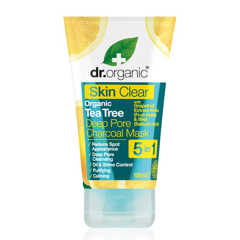 Skin Clear Organic Tea Tree Deep Pore Charcoal Mask 100ml